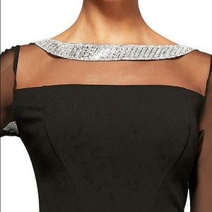 Alex Evenings Dresses - Alex Evenings Mesh Bell Sleeve Crepe Sheath Dress